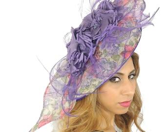 Medium Elisaveta Purple/Pink Fascinator Hat for Weddings, Races, and Special Events With Headband