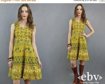 Elephants Dress Indian Dress India Dress Hippie Dress Hippy Dress Boho Dress Bohemian Dress Indian Cotton Dress 1970s Dress 70s Dress M
