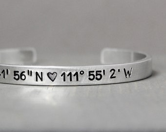 Coordinate Cuff, Latitude Longitude Bracelet, Hand Stamped Jewelry, Long Distance Relationship, Personalized Gift Idea, Personalized Jewelry