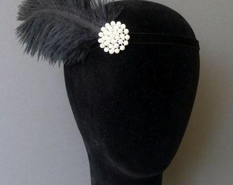 Flapper Headband Black Pearl Feather Headpiece 1920s Fascinator Art Deco 20s Crystal