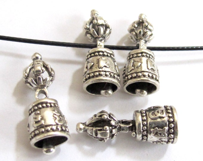 4 BEADS - Beautiful Tibetan om mantra dorje vajra silver plated bell beads mala spacer  - BD563