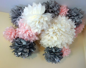 Custom Shades of Gray & Blush Pink Nursery Decor Ceiling Hanging Mobile Tissue Paper Flower Pom CONNECTING PuffScape Puffs