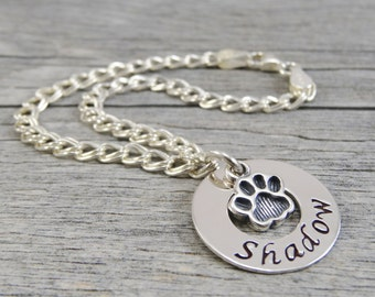 Pet Jewelry - Hand Stamped Jewelry - Personalized Jewelry - Mother Bracelet For Pet Owner - Sterling Silver Bracelet - Paw Print - Washer