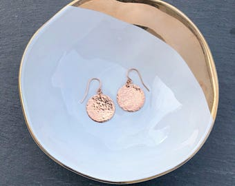 Circle Disc Earrings, Dainty Rose Gold Hammered Dangle Earrings, Dangle Drop Earrings, Boho Jewelry