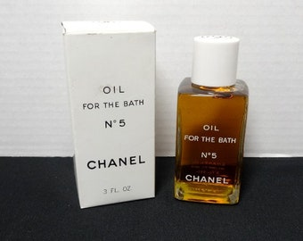 Chanel No 5 Oil for the Bath with Box, 3 oz., Full Content, With Paper Inserts, Vintage 1980s Perfume Vanity, Embossed Bottle