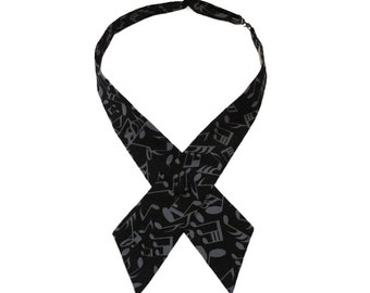 Musical Notes Design Adjustable Crossover Bow Tie