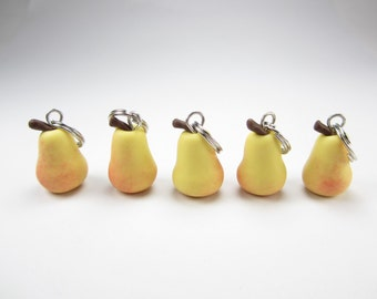 Pear Stitch Markers Set of 5, knitting accessories, knit, fruit food charms, gift for knitters, polymer clay, food charms, cute gift for her