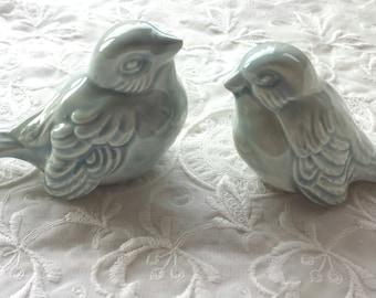 Wedding Cake Topper Celedon Love Birds Wedding Favors Ceramic Birds Celedon Home Decor Bird Home Decor Vintage Bird Design