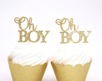 Oh Boy Cupcake Toppers - Baby Shower Cupcake Toppers - Gold Glitter Oh Boy Topper - Boy Baby Shower Toppers - Gender Reveal Decor