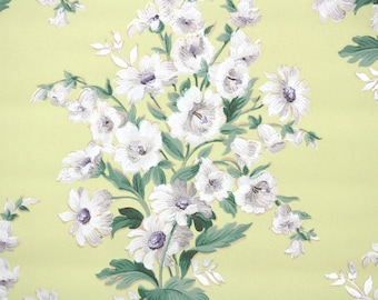 1940s Vintage Wallpaper by the Yard - Floral Wallpaper with White Daisy Bouquets on Yellow