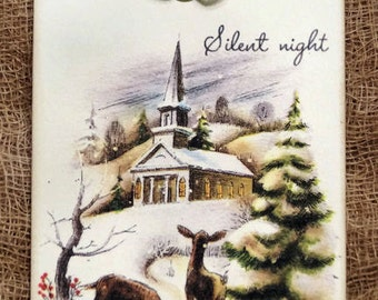 Silent Night Deer Church Christmas Gift or Scrapbook Tags or Magnet #448