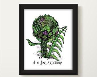 Artichoke Art Print, Kitchen Decor, Vegetable, Kitchen Wall Art, Food Art, Kitchen Wall Decor, Farmhouse Kitchen, Country Kitchen, P1200