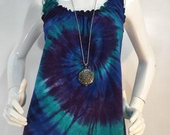 Romantic ruffle tie dye tank top in purple/blue/green tie dye.