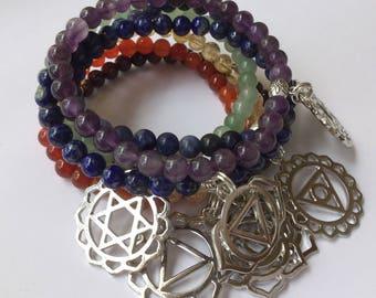 Chakra Bracelets, Bundle Chakra Bracelets, Chakra Charm Bracelets, Stackable Charm Bracelets, 7 Chakra Bracelets