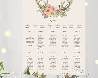 BOHO Printed Personalised Wedding Rustic Antler Table Plan - Seating Chart - Watercolour Floral Design - Pink and Purple Flowers
