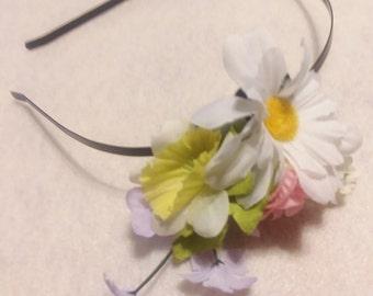 Spring Floral Black Metal Headband