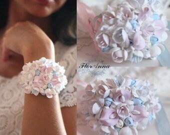 freesia bracelet, flower bracelet, freesia jewellery, bride bracelet, bride jewellery, bridesmaids gift, gift her, sky corsage, blue bride
