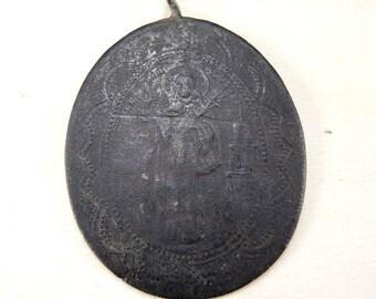 Antique Big Religious Pendant - Charm - Brass Religious Pendant - Christian Pendant #89