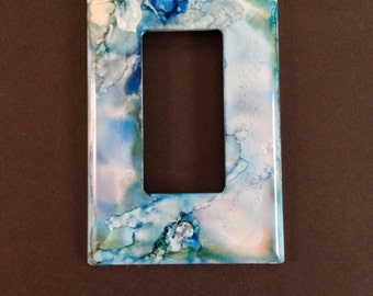 White Flower w/ Snow on Blue Background - Handpainted Switch Plate -  Wall Decor