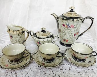 Antique Set of Rare and Delightful Teapot Creamer Sugarpot Trio of Tea Cups and Saucers Charming One of a Kind French Estate