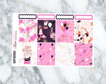 Happy Birthday // Weekly Kit - Erin Condren Life Planner Vertical 165+ stickers
