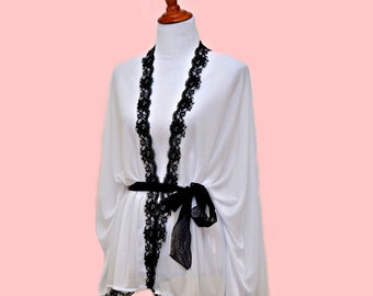 Black white robes, black lace kimono, sheer white cardigan, trendy gal robe, white boho robe, women kimono, feminine wears, sheer lady robe
