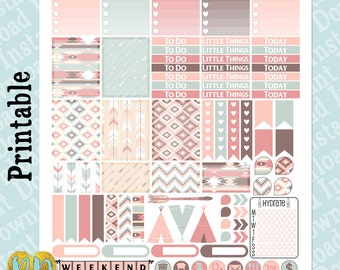 Pastel Aztec printable planner stickers, tribal weekly sticker kit, Printable PDF INSTaNT DOWNLOAD, half box, full box, header, icons