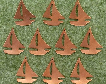 Enamelling: 10 x Copper Blank Craft Shapes. Sailing Boats / Yachts