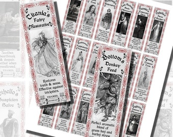 Fantasy Potion Labels -- Shakespeare's Apothecary, BOTTLE LABELS (1x3 Inches, 25x75 mm)