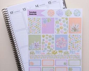 Succulents Quick Kit - Planner Stickers - Erin Condren - Happy Planner