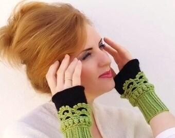 Fingerless gloves, Crochet, knit, Arm Wrist Warmers,green black, women, Winter Accessories, Fashion Accessories