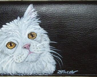 White Cat Custom Hand Painted Leather Checkbook Cover Checkbook Holder