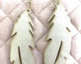 Gold Feather Earrings, Faux Leather Feather Earrings, Vegan Leather Earrings, Large Feather Earrings, Statement Earrings, Festival Earrings