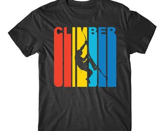 Retro 1970's Style Rock Climber Silhouette Climbing T-Shirt