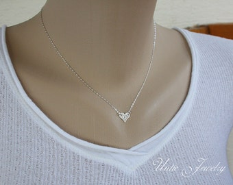Personalized Single Initial Hearts necklace in STERLING SILVER  - Dainty heart engraved, monogram necklace, Sweet gift for wife, for mom