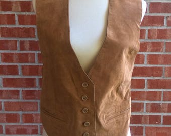 SALE !!!80s tan leather patchwork style Polish vest CTRBONsl