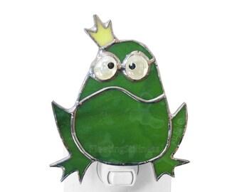 Frog Prince Night Light Stained Glass Green Nursery Night Light Grumpy Frog Handmade Nightlight