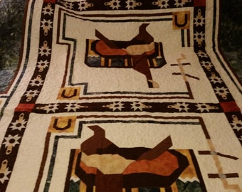 King Size Saddles and Spurs Pieced Quilt