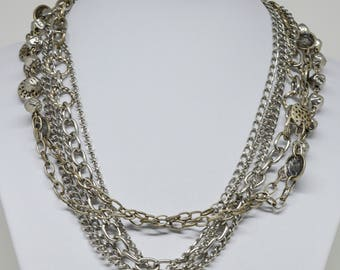 Gorgeous Silver tone Multi Strand Necklace