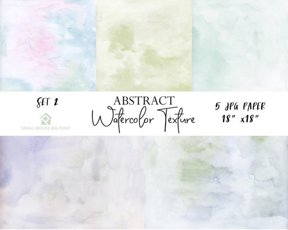 "Watercolor (Abstract) Digital Paper Pack Set 2: ""Watercolor Washes "" background papers in beautiful pastel colors - Commercial Use 18"" x 18"""