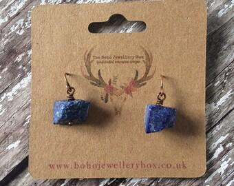 Lapis Lazuli, Gemstone Earrings, Tiny Earrings, Simple Earrings, Boho Earrings, Blue Earrings, Copper Earrings, Crystal Jewelry, Bohemian