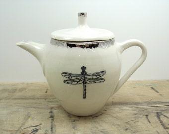 Dragonfly White & Silver Porcelain Large 20oz. Teapot