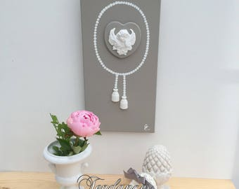 Taupe canvas with Angel heart tassels 20 x 40 cm