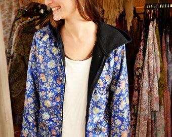 MAX JACKET/flis jacket/floral blue /silk&flis jacket/ floral print jacket