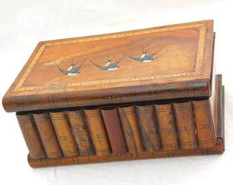 Antique - Sorrent Ware - Swallows / Birds marquetry Olivewood Books Puzzle Box with No Key
