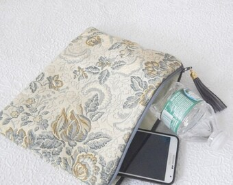 CLEARANCE - Upholstery pouch,  gold blue pouch, zipper pouch, lined clutch, fashion accessory, womens accessory