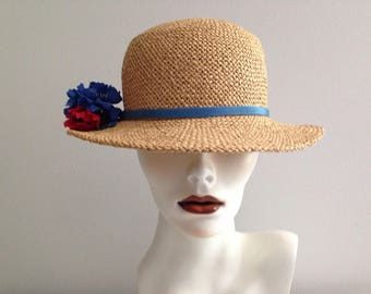 Vintage Wicker Straw Summer Sun Hat / With Flower And Ribbon Detailing / A GEORGETTE 50's Rockabilly Pinup Mid Century Hat