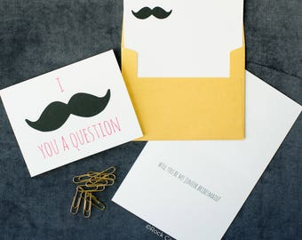I Mustache You A Question Will You Be My Junior Bridesmaid Card | Will You Be My Bridesmaid | Cute Way To Ask Flower Girl Card | Funny Card