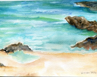 watercolor painting - Aruba original, ocean art, seascape painting 5 x 7 Aruba beach art, seascape watercolor