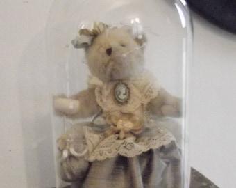 Romantic Teddy bear under glass globe